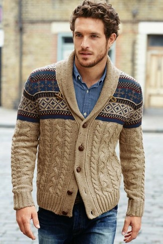 Men's Tan Fair Isle Shawl Cardigan, Blue Denim Shirt, Navy Jeans ...