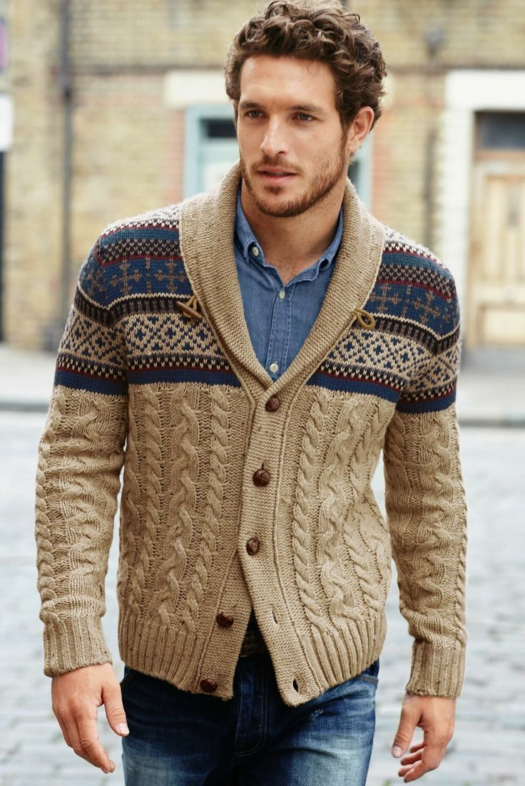 How to Wear a Beige Fair Isle Shawl Cardigan (4 looks) | Men's Fashion