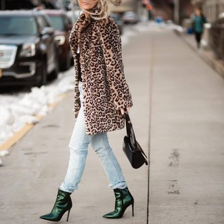 How to wear: tan leopard fur coat, light blue ripped jeans, dark green leather ankle boots, black leather handbag