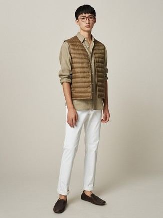 How to wear: tan gilet, tan long sleeve shirt, white chinos, dark brown leather driving shoes