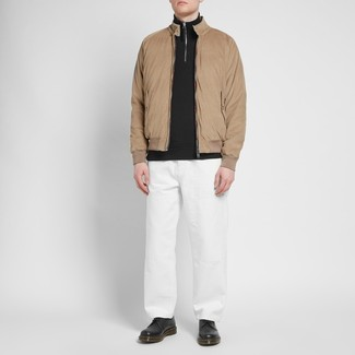 How to wear: tan harrington jacket, black zip neck sweater, white chinos, black leather derby shoes