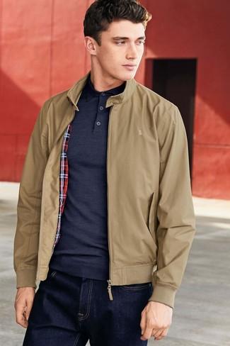 How to wear: tan harrington jacket, navy polo, navy jeans