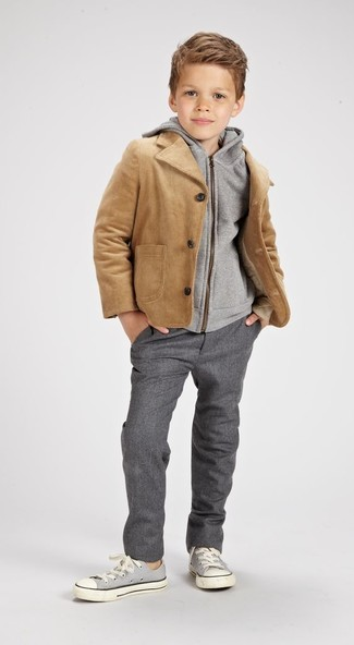 How to wear: tan jacket, grey hoodie, grey trousers, grey sneakers