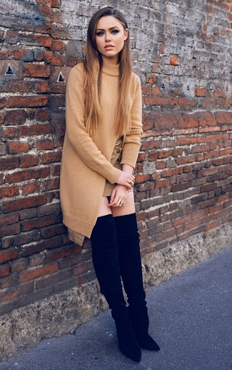 How to wear: tan knit tunic, tan mini skirt, black suede over the knee boots