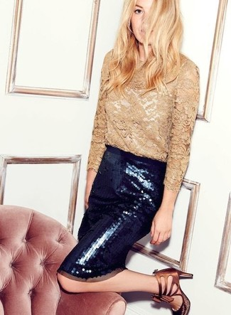 How to wear: tan lace long sleeve t-shirt, black embellished sequin pencil skirt, brown leather heeled sandals