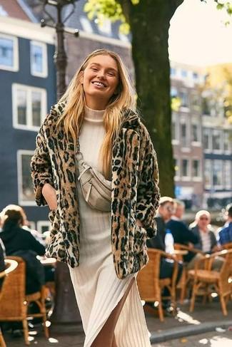 How to wear: tan leopard fur jacket, beige knit midi dress, beige leather fanny pack