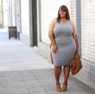 Grey Bodycon Dress Outfits: If you prefer laid-back combos, then you'll appreciate this pairing of a grey bodycon dress and a tan open cardigan. Rounding off with tan leather pumps is a surefire way to infuse an added touch of style into this look.