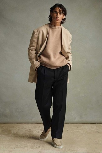 Beige Suede Loafers Outfits For Men: A tan open cardigan and black dress pants are absolute wardrobe heroes if you're picking out a semi-casual wardrobe that holds to the highest menswear standards. Finishing off with beige suede loafers is a guaranteed way to introduce a little classiness to your outfit.