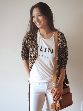 Women's Tan Leopard Open Cardigan, White and Black Print Crew-neck T-shirt, White and Black Skinny Jeans, Tan Leather Crossbody Bag