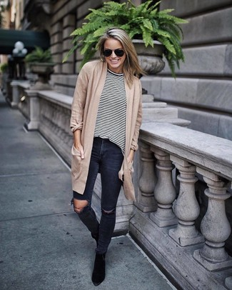 How to wear: tan open cardigan, white and black horizontal striped long sleeve t-shirt, charcoal ripped skinny jeans, black suede ankle boots