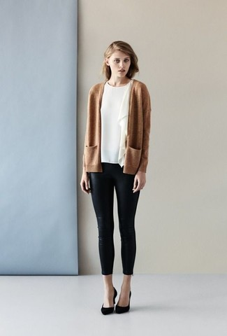 How to wear: tan open cardigan, white ruffle short sleeve blouse, black leather skinny pants, black suede pumps