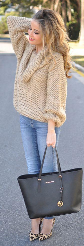 4ab9aee217 Women s Tan Knit Oversized Sweater
