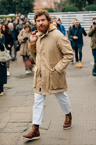 How to Wear a Beige Knit Turtleneck For Men: Solid proof that a beige knit turtleneck and white chinos are awesome when combined together in a laid-back getup. Go ahead and complete this look with a pair of brown leather work boots for a bit more edginess.