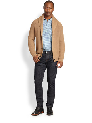 How to Wear a Tan Shawl Cardigan For Men: For something more on the casual and cool end, you can easily dress in a tan shawl cardigan and black jeans. A pair of black leather casual boots integrates smoothly within plenty of combos.