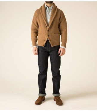 A white vertical striped long sleeve shirt and black jeans are absolute essentials if you're putting together a casual wardrobe that holds to the highest style standards. Play down the casualness of your ensemble with brown suede derby shoes. This getup is a savvy option when spring sets it.