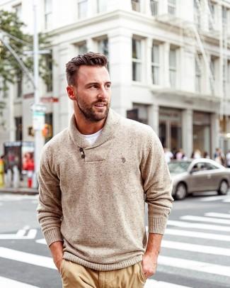 How to wear: tan shawl-neck sweater, white crew-neck t-shirt, khaki chinos