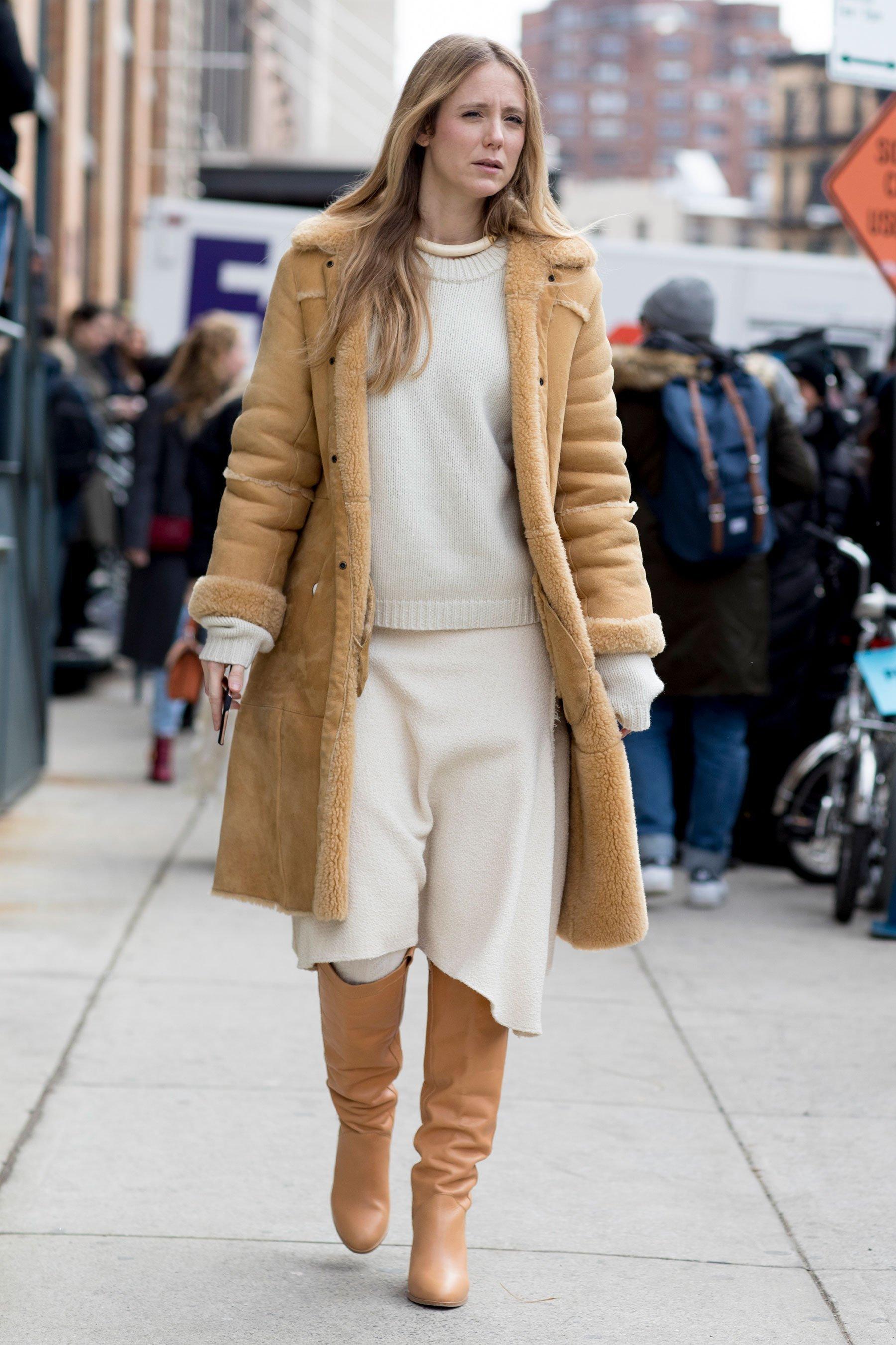 Women's Tan Shearling Coat, White Crew-neck Sweater, White Wool Midi Skirt,  Tan Leather Knee High Boots | Women's Fashion