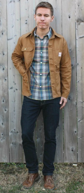 1200+ Outfits For Men In Their 30s: Go for a straightforward but casually cool choice by wearing a tan shirt jacket and navy jeans. Add brown leather desert boots to the mix and the whole ensemble will come together brilliantly. As you see, dressing maturely doesn't equal dressing old-fashioned.