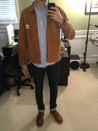 Light Blue Long Sleeve Shirt Outfits For Men: Pair a light blue long sleeve shirt with navy jeans for a seriously stylish, off-duty getup. And if you need to immediately perk up your look with a pair of shoes, complement this ensemble with a pair of brown leather derby shoes.