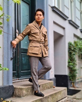 Tan Shirt Jacket Outfits For Men: Putting together a tan shirt jacket and grey plaid dress pants is a fail-safe way to breathe style into your styling repertoire. Black leather loafers integrate effortlessly within a great deal of combinations.