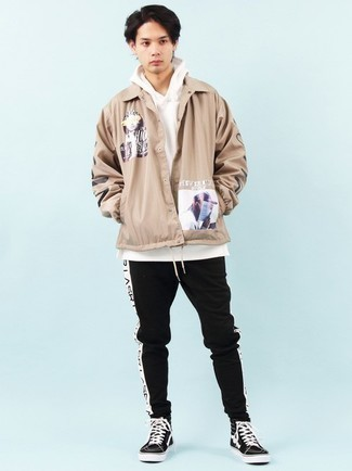 Men's Outfits 2021: Why not marry a tan print shirt jacket with black sweatpants? These items are totally functional and look cool paired together. Introduce a pair of black and white canvas high top sneakers to your ensemble to keep the ensemble fresh.