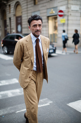 How to wear: tan suit, light blue dress shirt, brown knit tie, white pocket square