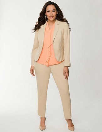 How to wear: tan suit, orange silk sleeveless top, tan leather pumps
