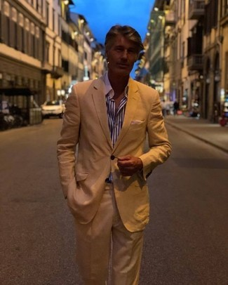 How to wear: tan suit, white and navy vertical striped dress shirt
