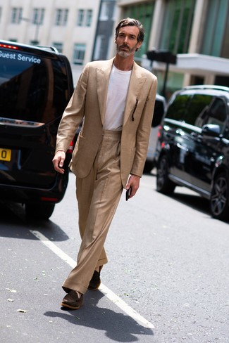 How to wear: tan suit, white crew-neck t-shirt, dark brown suede loafers
