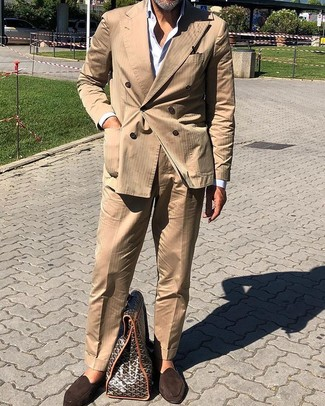 How to wear: tan suit, white dress shirt, dark brown suede loafers