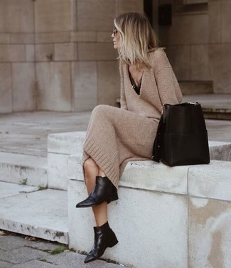 How to wear: tan sweater dress, black lace tank, black leather chelsea boots, black leather bucket bag