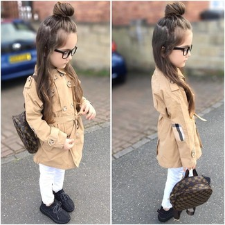 Girls' Looks & Outfits: What To Wear In 2020: Reach for a tan trench coat and white jeans for your little princess and her cute factor will be off the roof. Black sneakers are a nice choice to complete this outfit.