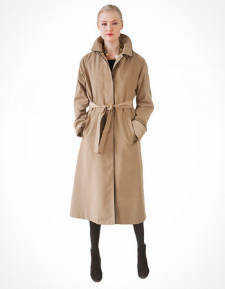 How to wear: tan trenchcoat, black suede ankle boots, black wool tights