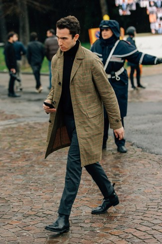How to wear: tan plaid trenchcoat, black turtleneck, charcoal wool dress pants, black leather chelsea boots