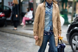 Try pairing a navy and white floral shirt with blue jeans to achieve a dressy but not too dressy look.
