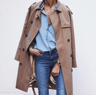 Stand out among other stylish civilians in a camel trench and blue jeans.