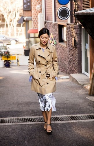 How to wear: tan trenchcoat, light blue dress shirt, white and black print pencil skirt, black leather heeled sandals