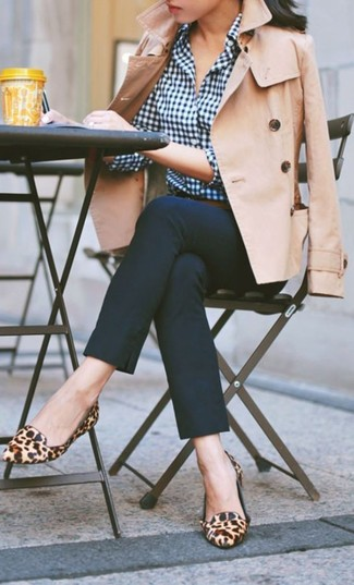 Women's Tan Trenchcoat, Navy Gingham Dress Shirt, Navy Skinny Pants, Tan Leopard Suede Loafers