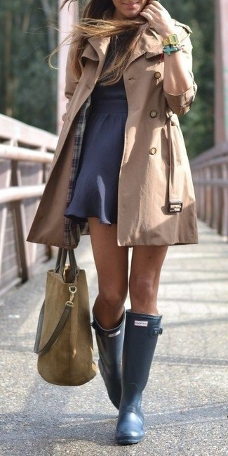 Women's Tan Trenchcoat, Navy Skater Dress, Navy Rain Boots, Olive ...