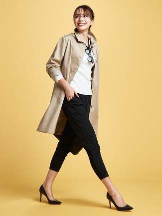 How to wear: tan trenchcoat, white and black v-neck sweater, black skinny pants, black leather pumps