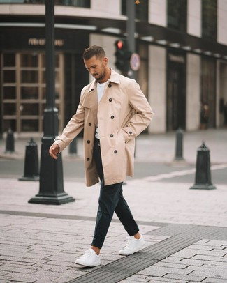 How to wear: tan trenchcoat, white crew-neck t-shirt, black chinos, white low top sneakers