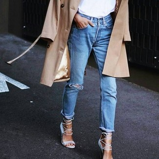How to Wear Light Blue Suede Heeled Sandals: If you're looking for an off-duty yet absolutely chic getup, try pairing a tan trenchcoat with blue ripped boyfriend jeans. Amp up the style factor of your ensemble by rocking a pair of light blue suede heeled sandals.
