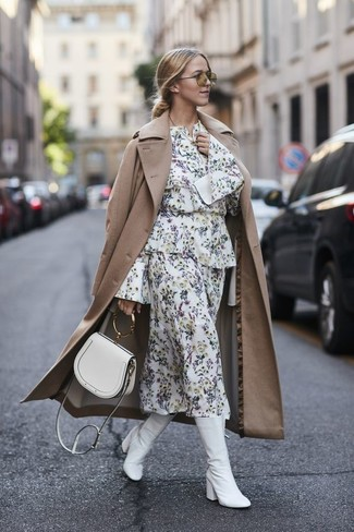 How to wear: tan trenchcoat, white floral midi dress, white leather mid-calf boots, white leather crossbody bag