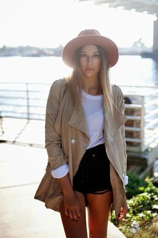 Women's Tan Trenchcoat, White Oversized Sweater, Black Denim Shorts, Orange Wool Hat