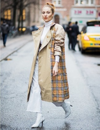 How to wear: tan plaid trenchcoat, white turtleneck, white denim wide leg pants, white leather ankle boots