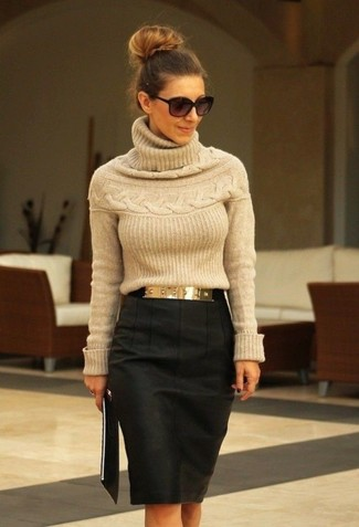 Try teaming a tan turtleneck with a charcoal pencil skirt to achieve new levels in outfit coordination. A look like this makes it easy to embrace weird transeasonal weather.