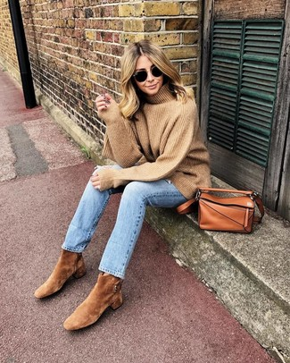 How to wear: tan wool turtleneck, light blue jeans, tan suede ankle boots, tobacco leather crossbody bag