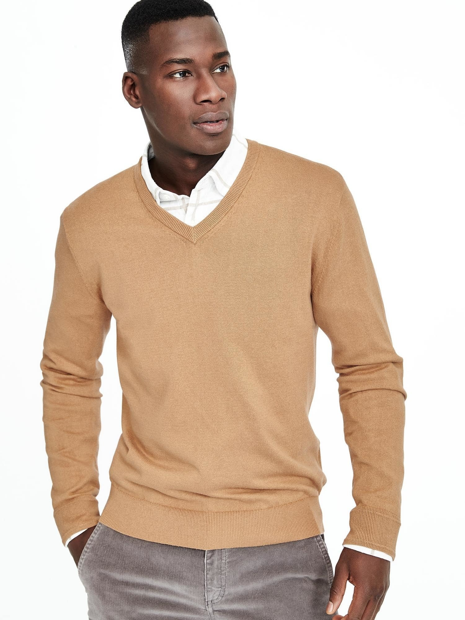 How to Wear a Tan V-neck Sweater (29 looks) | Men's Fashion