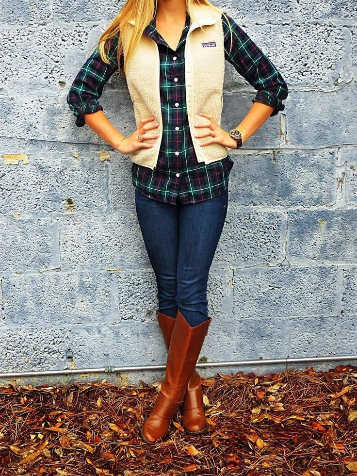 Women's Tan Corduroy Vest, Navy and Green Plaid Dress Shirt, Navy ...