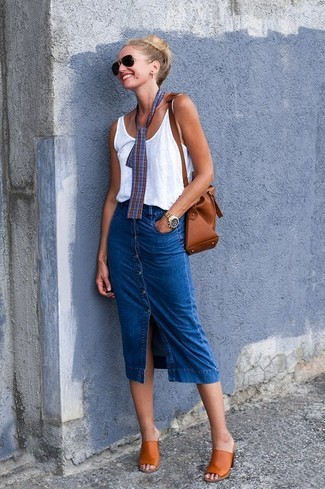 How to wear: white tank, blue denim button skirt, tobacco leather mules, brown leather bucket bag